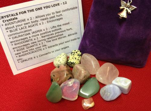 CRYSTALS FOR THE ONE YOU LOVE - Crystal Healing Tumble Stones specifically chosen to attract love into your life or to rebuild the love of an ongoing relationship Once you have found the person of your dreams - give him / her one of the rose quartz stones to keep them in your life forever. This set contains 12 tumble stones. This set can attract new love or renew the love you already have.