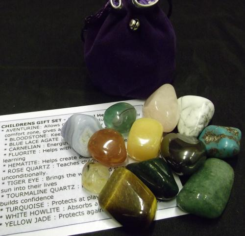 Children's Crystal Gift Set - 	Crystal Tumble specifically chosen for children. Children love crystals and what better way to start than with their very own little set. This set comes with 12 individual crystals. Children will use their intuition on which is the best way to use these crystals.