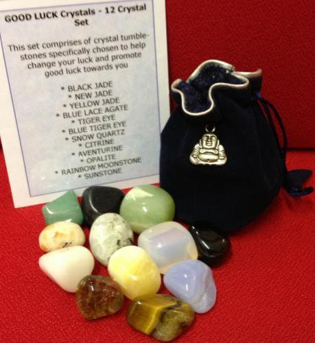 GOOD LUCK CRYSTAL SET - This set comprises of crystal tumblestones specifically chosen to help change your luck and promote good luck towards you. The set comprises of 12 tumble stones. These stones have been chosen and programmed to attract luck in your direction. Carry these crystals with you when you need to promote extra luck in your direction
