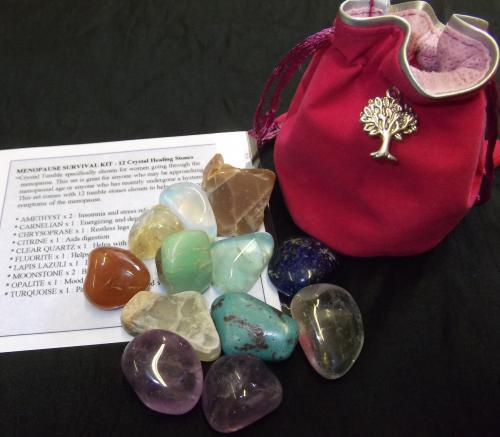 MENOPAUSE SURVIVAL KIT - 	Crystal Tumble specifically chosen for women going through the menopause. This set is great for anyone who may be approaching a menopausal age or anyone who has recently undergone a hysterectomy. This set comes with 12 tumble stones chosen to help with the common symptoms of the menopause.