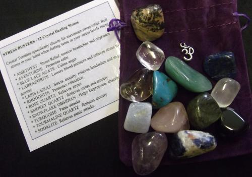 STRESS BUSTER CRYSTAL SET - 	Crystal Tumble specifically chosen for maximum stress relief. The set comprises of 12 tumble stones. Roll stones in your hand when feeling tense or your stress levels rising.
