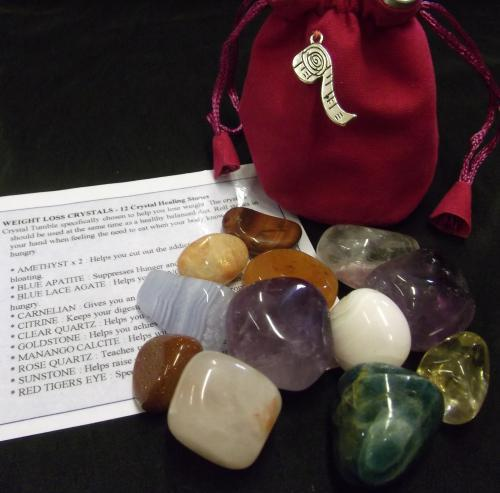 WEIGHT LOSS CRYSTALS - 	Crystal Tumble specifically chosen to help you lose weight. The crystals should be used at the same time as a healthy balanced diet. The set comprises of 12 tumble stones. Roll stones in your hand when feeling the need to eat when your body knows it is not hungry.
