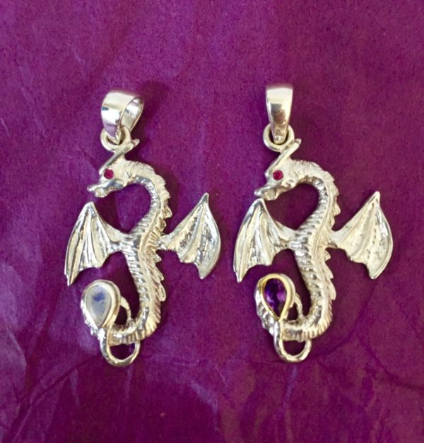 Small Gemstone Dragon Pendants