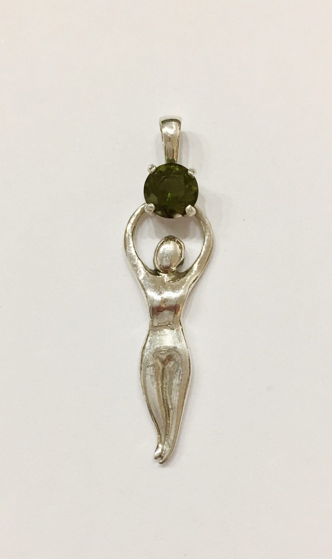 goddess with moldavite pendant the tree